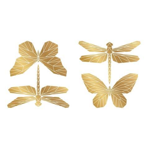 Gold Polygonal Butterflies Wall Sticker