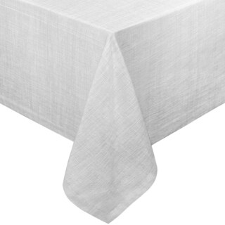 "Chambray Vinyl Flannel Backing Rectangle Table Cloth 60"" x 84"" Gray"
