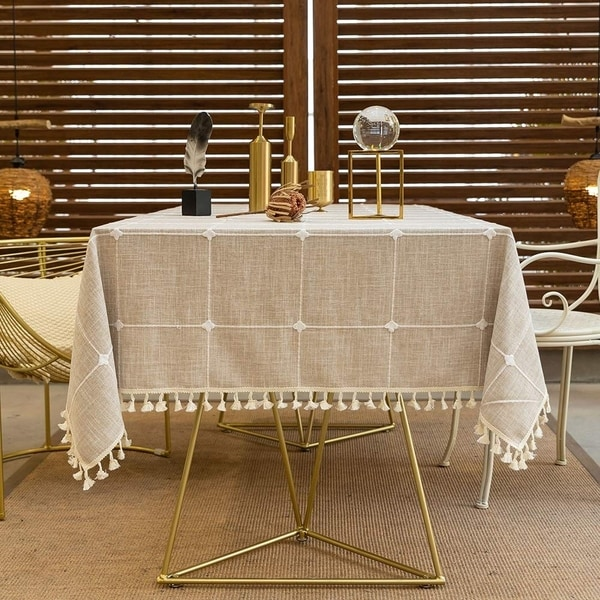 Cotton Linen Anti-Fading Wrinkle Free Round Tablecloth 55'' Light Brown