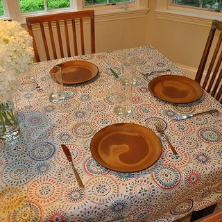 "Stitched Edged Flannel Backed Vinyl Drop Tablecloth 54"" x 72"" Multi-color Geometric Medallion"