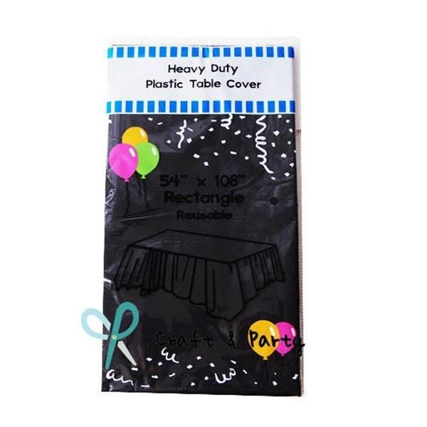"6-Pack Heavy Duty Plastic Tablecloth 54"" x 108"" Black"