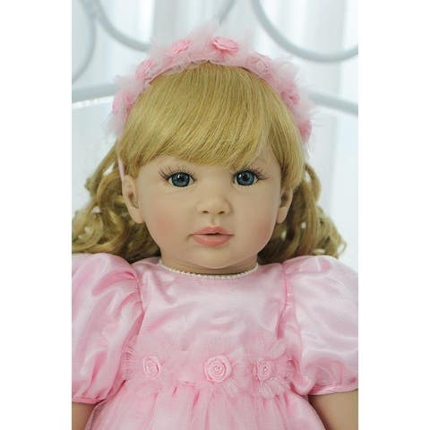 "24"" Beautiful Simulation Baby Golden Curly Girl Wearing Pink Princess Dress Doll"