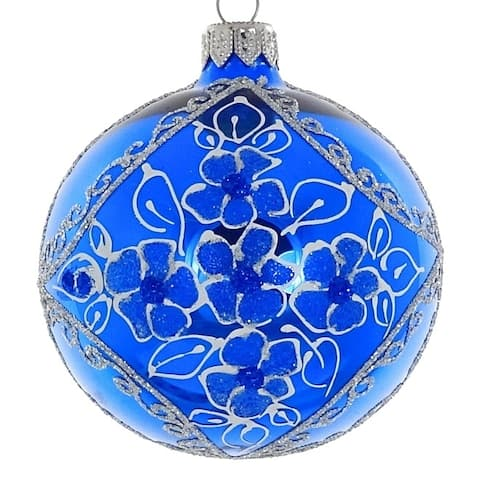 "Pair of Shiny Soft Blue European Mouth Blown Hand Decorated 3.25"" Round Holiday Ornaments"