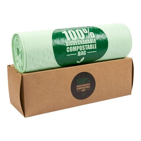 100PC Biodegradable Compost Bags Eco-Friendly Trash Bag 3 Gallon Capacity, Green