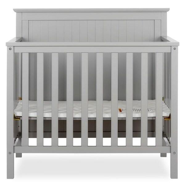 Dream On Me Ava 4-in-1 Convertible Mini Crib Pebble Grey