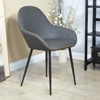 Link to Porch & Den Poehler Faux Leather Mid-century Accent Chair Similar Items in Dining Room & Bar Furniture