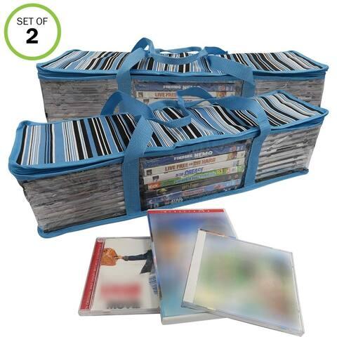 Evelots CD/DVD Storage Bag-2 in 1-Hold 48 CDs & 16 DVDs Total-Blue Stripes-Set/2 - Set of 2