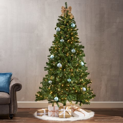 7-foot Noble Fir Pre-Lit Clear LED Hinged Artificial Christmas Tree by Christopher Knight Home