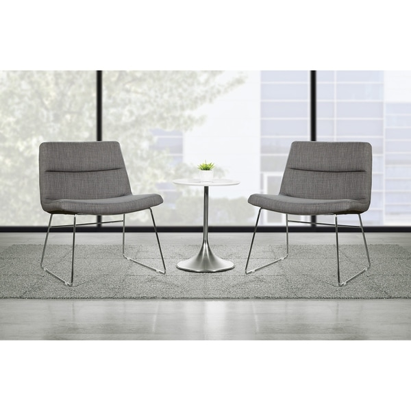 Thompson Upholstered Lounge Chair with Chrome Base. Opens flyout.