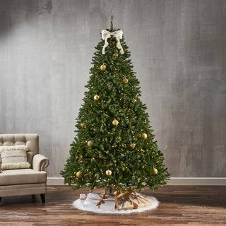 9-foot Fraser Fir Pre-Lit Clear LED Hinged Artificial Christmas Tree by Christopher Knight Home