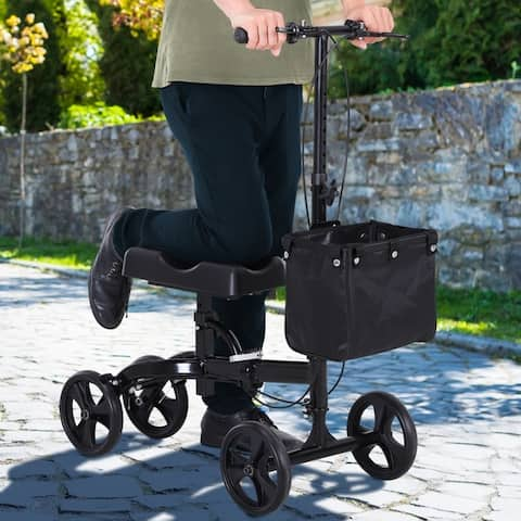 "Foldable Dual Pad Steerable Leg Knee Walker Scooter with Basket Attachment - 16.75""L x 32""W x 41.25""H"