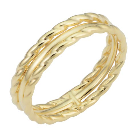 14k Yellow Gold Twisted Triple Ring Minimalist Jewelry for Women