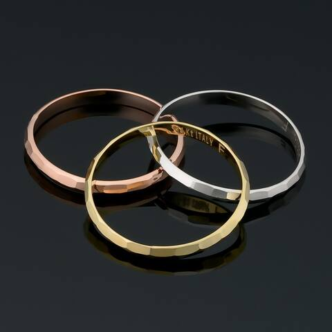 14k Yellow White or Rose Gold Diamond-cut 2 millimeter Band Ring