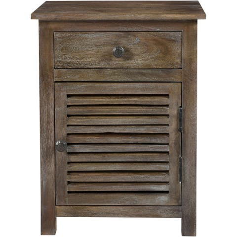 Augusta Acacia Wood Side Table with Slatted Door and Light Rustic Finish