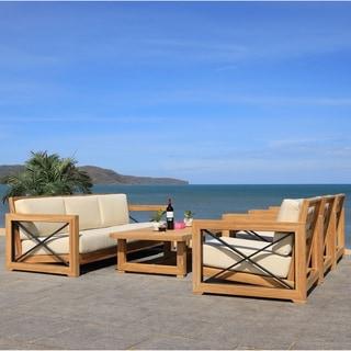 Shop Quay 8 Piece Outdoor Patio Teak Sofa Set - On Sale ... on Safavieh Outdoor Living Granton 5 Pc Living Set id=11661