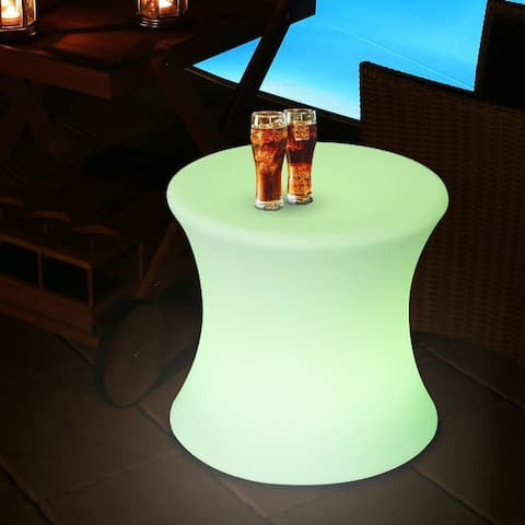 """Outsunny 16"""" Outdoor Color Changing LED Light Lamp Stool with Remote Control"""