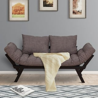Convertible Linen Fabric Futon Sleeper Modern Sofa Bed