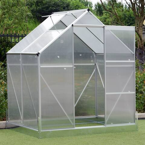 Outsunny Aluminum 4.25' L x 6.25' W x 7.2' H Polycarbonate Walk-In Garden Greenhouse with Adjustable Roof & Large Growing Space