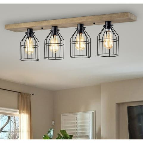 The Gray Barn Daisy Road 4-light Wood and Metal Cage Linear Flush Mount