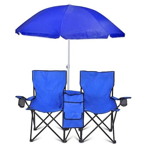 GoTeam Portable Double Folding Chair w/Removable Umbrella, Cooler Bag and Carry Case