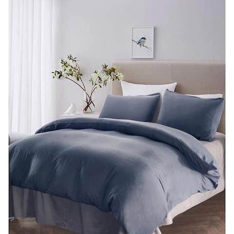 Reversible Microfiber Duvet Cover and Pillowcase Set