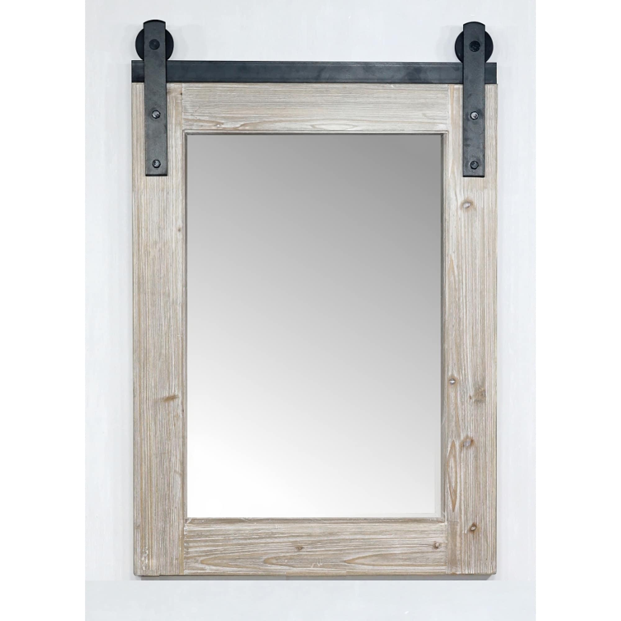 "15"" Rustic Solid Fir Barn Door Style Mirror (15.15"" W x 15"" H)"