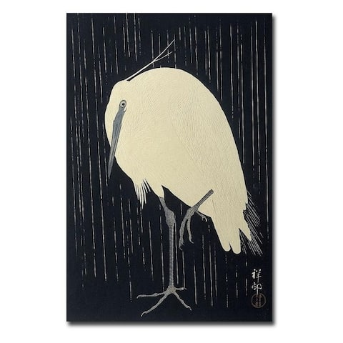 Egret in the Rain by Ohara Kosun Gallery Wrapped Canvas Giclee Art (36 in x 24 in)