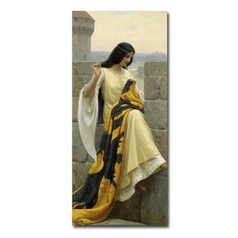 Stitching the Standard by Edmund Blair Leighton Gallery Wrapped Canvas Giclee Art (36 in x 16 in)