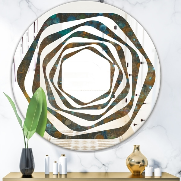 Designart 'Blue and Bronze Dots on Glass III' Modern Round or Oval Wall Mirror - Whirl