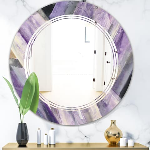 Designart 'Geometric Purple Glacier' Modern Round or Oval Wall Mirror - Triple C