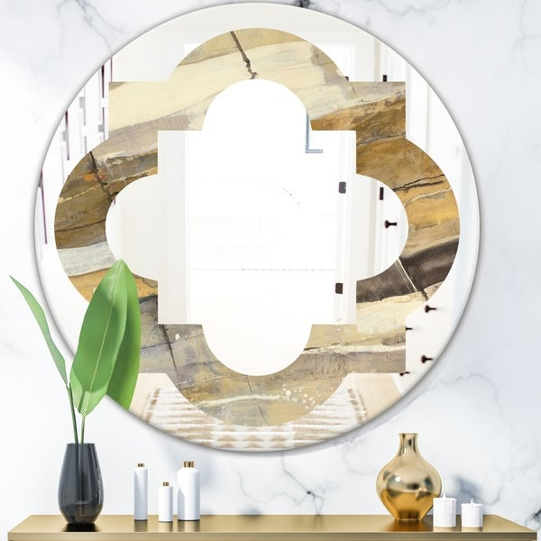 Designart 'Fire and Ice Minerals V' Modern Round or Oval Wall Mirror - Quatrefoil