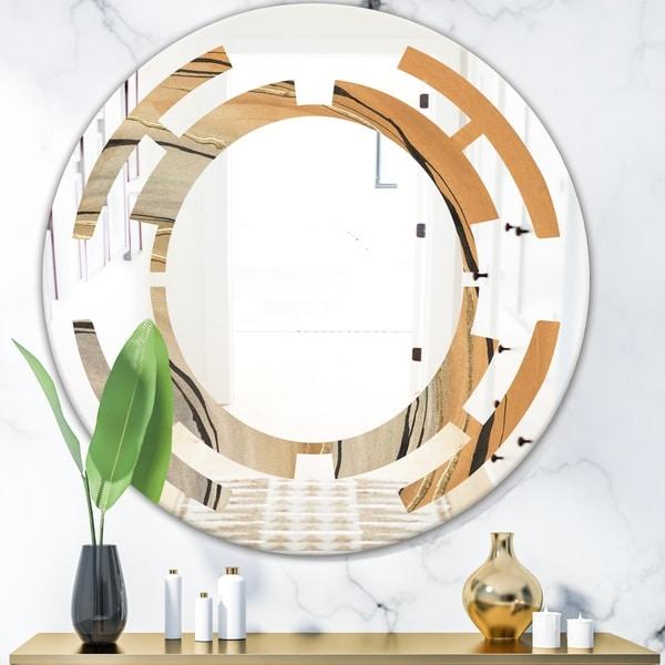 Designart 'Glam Canion II' Modern Round or Oval Wall Mirror - Space