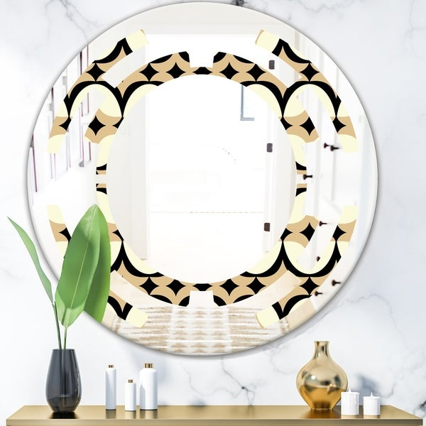 Designart 'Abstract Retro Geometrical Design VII' Modern Round or Oval Wall Mirror - Space