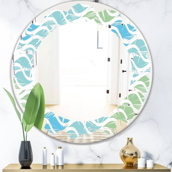 Designart 'Abstract Design Retro Pattern II' Modern Round or Oval Wall Mirror - Leaves