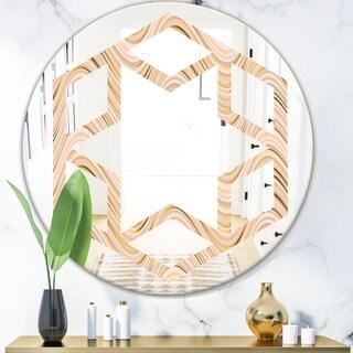 Designart 'Abstract Luxury Beige Waves' Modern Round or Oval Wall Mirror - Hexagon Star