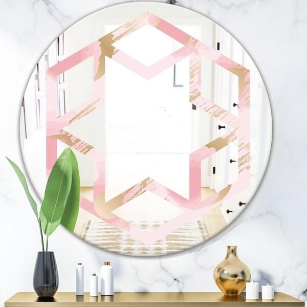 Designart 'Abstract Flower Design IX' Cottage Round or Oval Wall Mirror - Hexagon Star