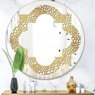 Designart 'Golden Maze' Modern Round or Oval Wall Mirror - Quatrefoil