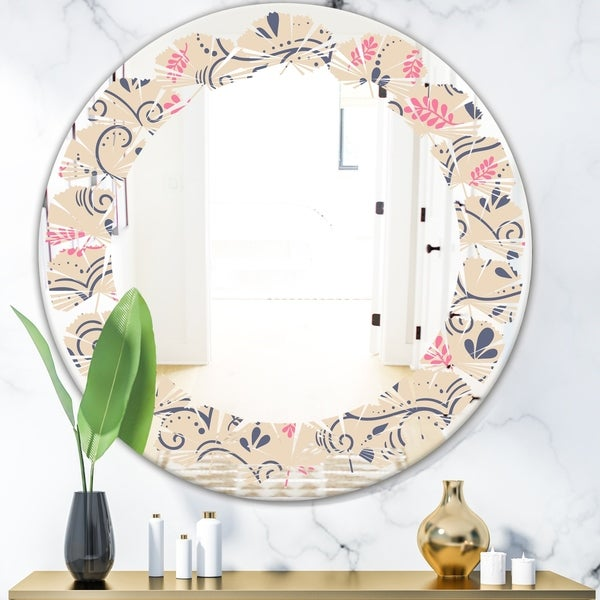 Designart 'Retro Botanical Pattern X' Modern Round or Oval Wall Mirror - Leaves