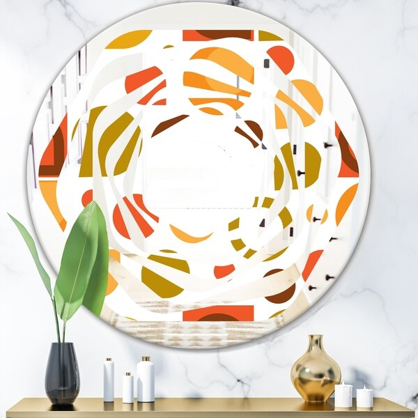 Designart 'Abstract Retro Geometric I' Modern Round or Oval Wall Mirror - Whirl