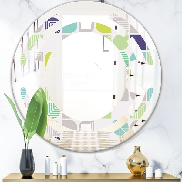 Designart 'geometric pattern with leaves' Modern Round or Oval Wall Mirror - Space