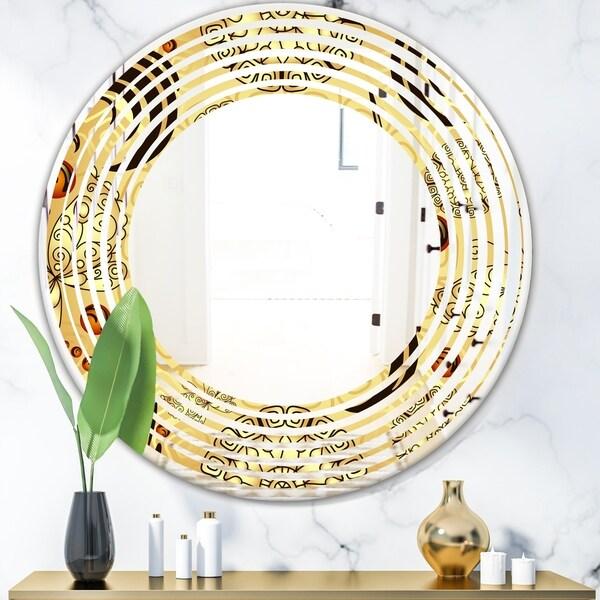 Designart 'Golden Luxury Pattern I' Modern Round or Oval Wall Mirror - Wave