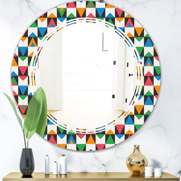 Designart 'Retro Ornamental Design II' Modern Round or Oval Wall Mirror - Triple C