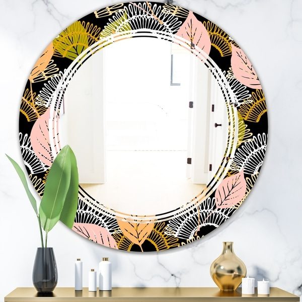 Designart 'Autumn leaves lace textured pattern' Modern Round or Oval Wall Mirror - Triple C - Multi