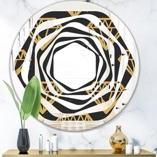Designart 'Vintage Golden Diamonds' Modern Round or Oval Wall Mirror - Whirl