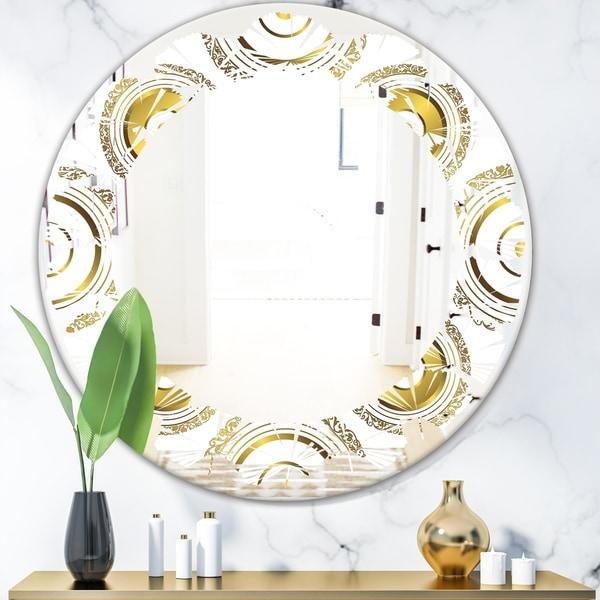 Designart 'Circular Golden Pattern I' Modern Round or Oval Wall Mirror - Leaves