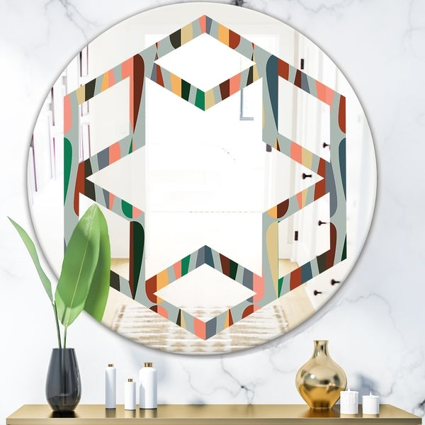 Designart 'Retro Abstract Drops IX' Modern Round or Oval Wall Mirror - Hexagon Star - Multi