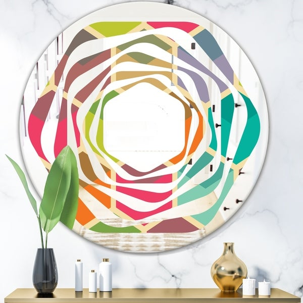 Designart 'Retro Hexagon Pattern I' Modern Round or Oval Wall Mirror - Whirl - Multi