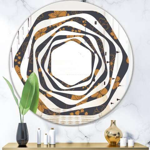 Designart 'Retro Handdrawn Poppies II' Cottage Round or Oval Wall Mirror - Whirl