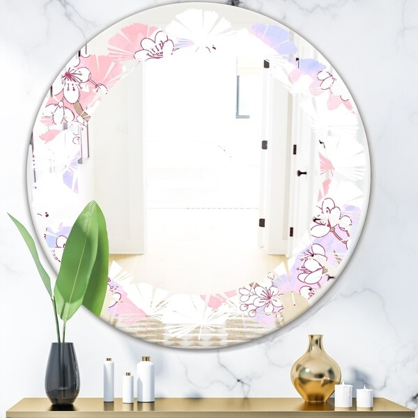 Designart 'Retro Pink Flower Pattern I' Cottage Round or Oval Wall Mirror - Leaves