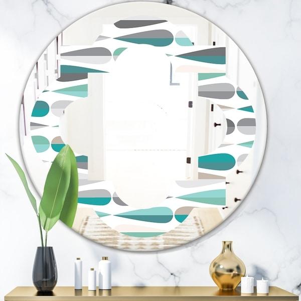Designart 'Retro Abstract Drops III' Modern Round or Oval Wall Mirror - Quatrefoil